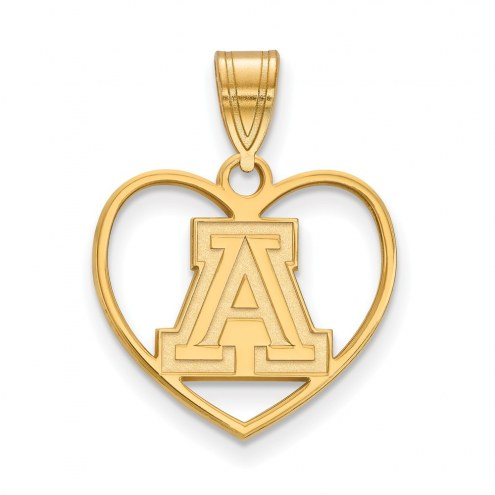 Arizona Wildcats Sterling Silver Gold Plated Heart Pendant