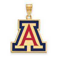 Arizona Wildcats Sterling Silver Gold Plated Large Enameled Pendant