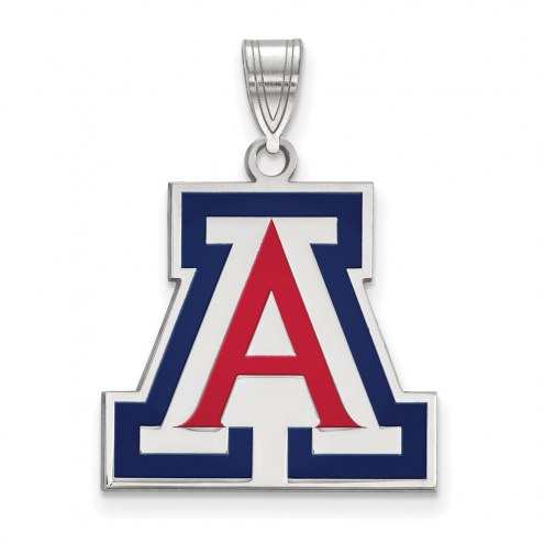 Arizona Wildcats Sterling Silver Large Enameled Pendant