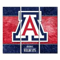 Arizona Wildcats Triptych Double Border Canvas Wall Art