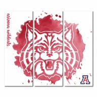 Arizona Wildcats Triptych Watercolor Canvas Wall Art