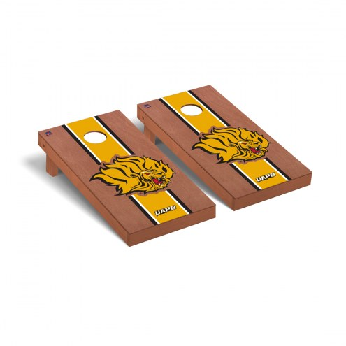Arkansas-Pine Bluff Golden Lions Rosewood Stained Stripe Cornhole Game Set