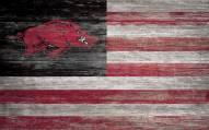 "Arkansas Razorbacks 11"" x 19"" Distressed Flag Sign"