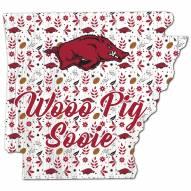 """Arkansas Razorbacks 12"""" Floral State Sign"""