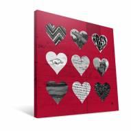 """Arkansas Razorbacks 12"""" x 12"""" Hearts Canvas Print"""