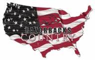 "Arkansas Razorbacks 15"" USA Flag Cutout Sign"