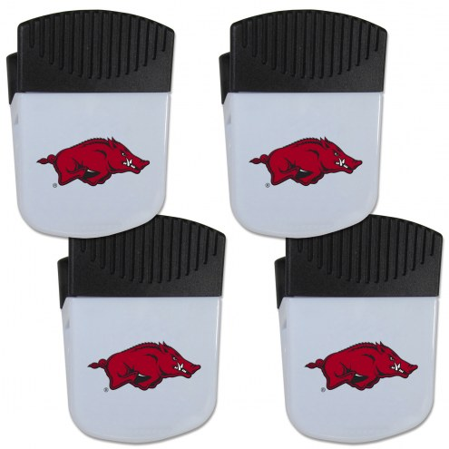 Arkansas Razorbacks 4 Pack Chip Clip Magnet with Bottle Opener