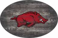"""Arkansas Razorbacks 46"""" Distressed Wood Oval Sign"""