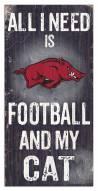 "Arkansas Razorbacks 6"" x 12"" Football & My Cat Sign"