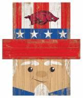 """Arkansas Razorbacks 6"""" x 5"""" Patriotic Head"""