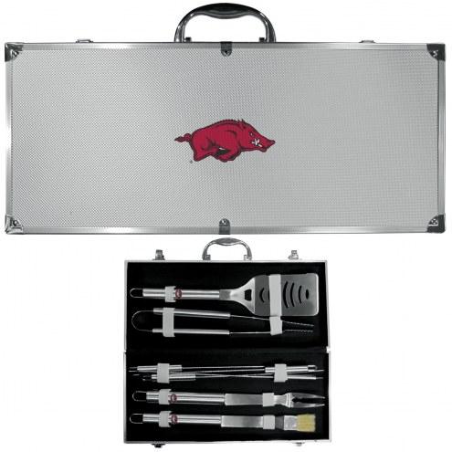 Arkansas Razorbacks 8 Piece Stainless Steel BBQ Set w/Metal Case