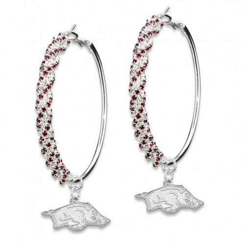 Arkansas Razorbacks Amped Logo Crystal Earrings