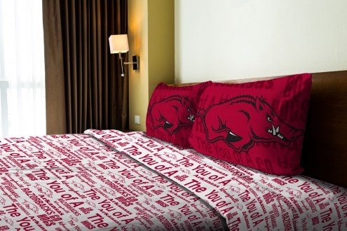 Arkansas Razorbacks Anthem Full Bed Sheets