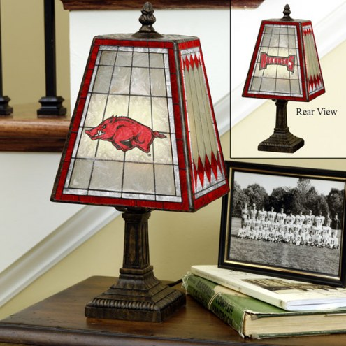 Arkansas Razorbacks Art Glass Table Lamp