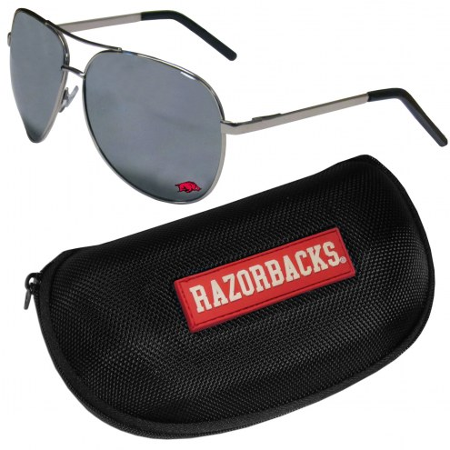 Arkansas Razorbacks Aviator Sunglasses and Zippered Carrying Case