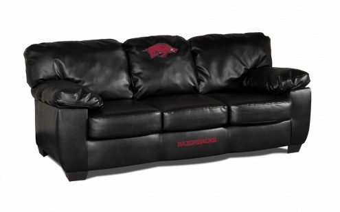 Arkansas Razorbacks Black Leather Classic Sofa