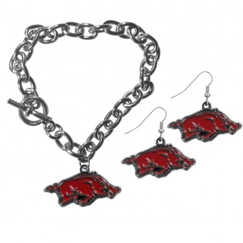 Arkansas Razorbacks Chain Bracelet & Dangle Earring Set