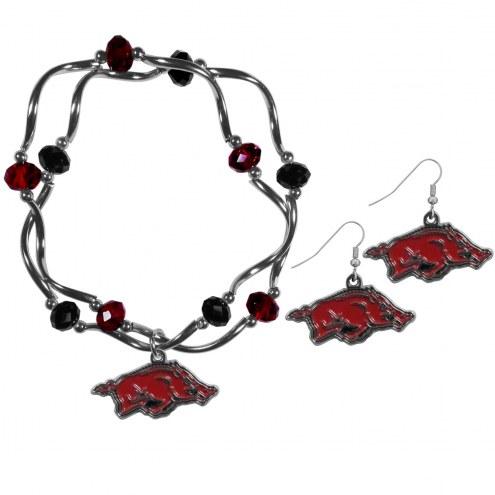 Arkansas Razorbacks Dangle Earrings & Crystal Bead Bracelet Set