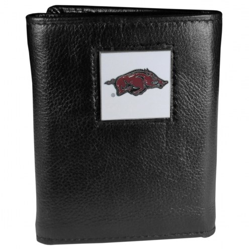 Arkansas Razorbacks Deluxe Leather Tri-fold Wallet in Gift Box