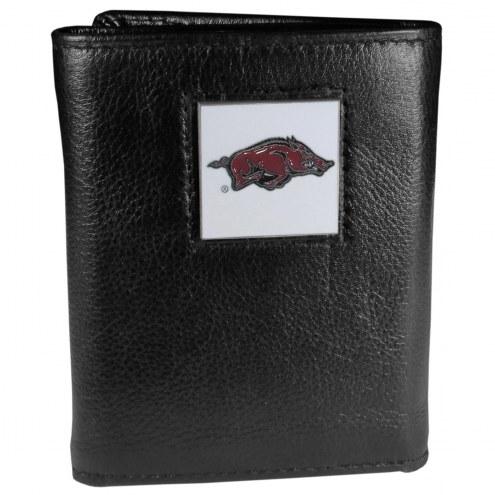 Arkansas Razorbacks Deluxe Leather Tri-fold Wallet in Gift Box