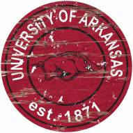 Arkansas Razorbacks Distressed Round Sign