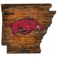 Arkansas Razorbacks Distressed State with Logo Sign