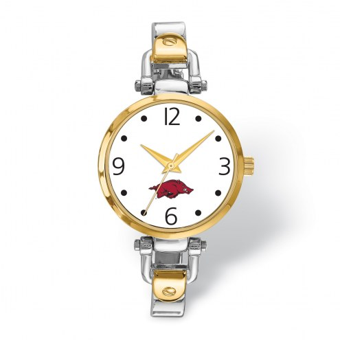 Arkansas Razorbacks Elegant Ladies Two-Tone Watch