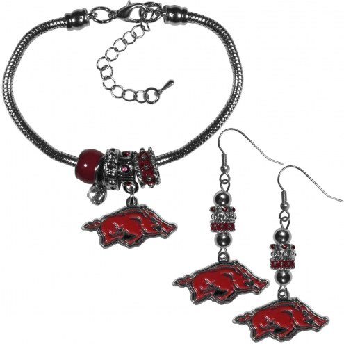 Arkansas Razorbacks Euro Bead Earrings & Bracelet Set