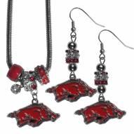 Arkansas Razorbacks Euro Bead Earrings & Necklace Set