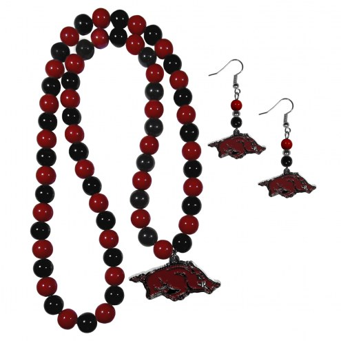 Arkansas Razorbacks Fan Bead Earrings & Necklace Set