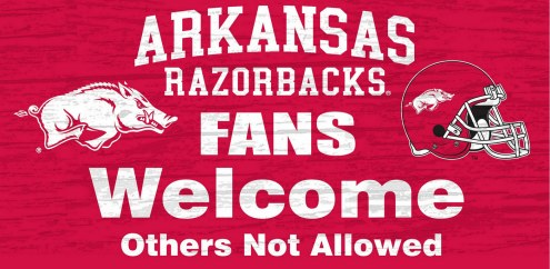 Arkansas Razorbacks Fans Welcome Wood Sign