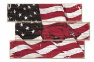 Arkansas Razorbacks Flag 3 Plank Sign