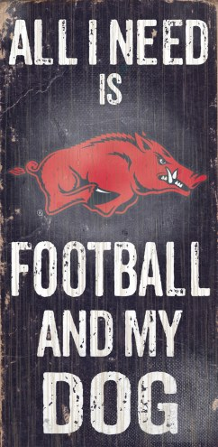 Arkansas Razorbacks Football & Dog Wood Sign