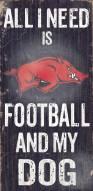 Arkansas Razorbacks Football & Dog Wood Sign