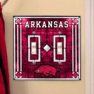 Arkansas Razorbacks Glass Double Switch Plate Cover