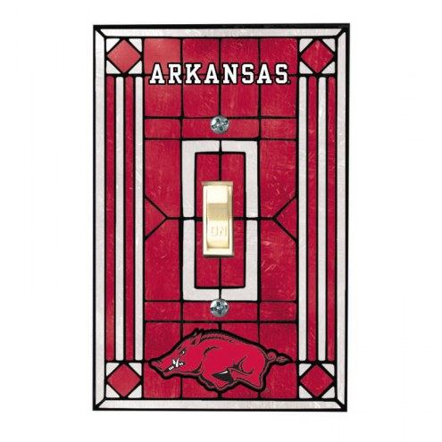 Arkansas Razorbacks Glass Single Light Switch Plate Cover