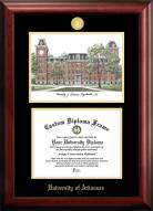 Arkansas Razorbacks Gold Embossed Diploma Frame with Campus Images Lithograph