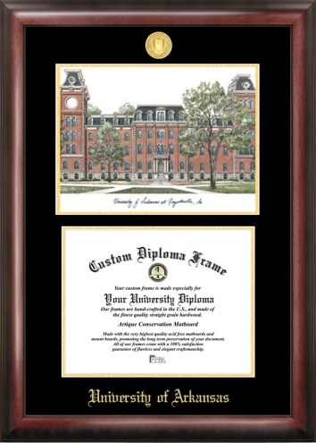 Arkansas Razorbacks Gold Embossed Diploma Frame with Lithograph