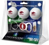 Arkansas Razorbacks Golf Ball Gift Pack with Key Chain