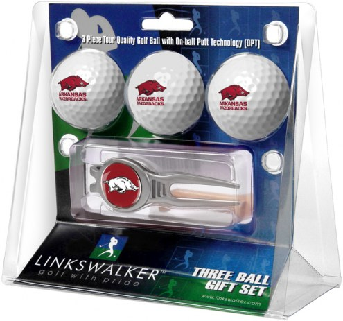 Arkansas Razorbacks Golf Ball Gift Pack with Kool Tool