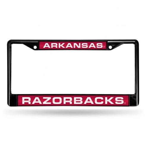 Arkansas Razorbacks Laser Black License Plate Frame