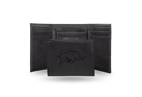 Arkansas Razorbacks Laser Engraved Black Trifold Wallet