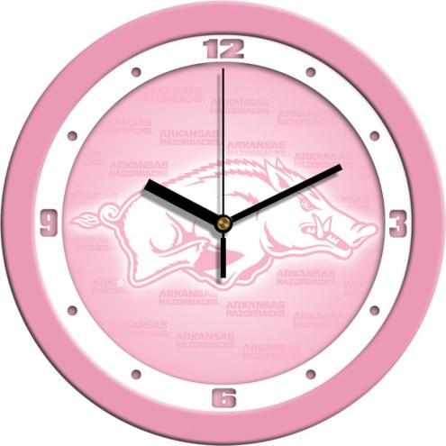 Arkansas Razorbacks Pink Wall Clock