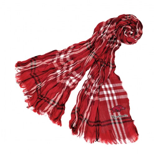 Arkansas Razorbacks Plaid Crinkle Scarf