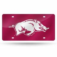 Arkansas Razorbacks Red Laser Cut License Plate