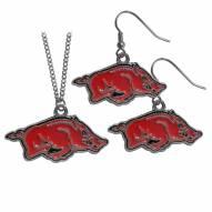 Arkansas Razorbacks Dangle Earrings & Chain Necklace Set