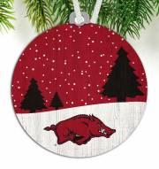 Arkansas Razorbacks Snow Scene Ornament