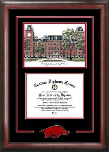 Arkansas Razorbacks Spirit Diploma Frame with Campus Image