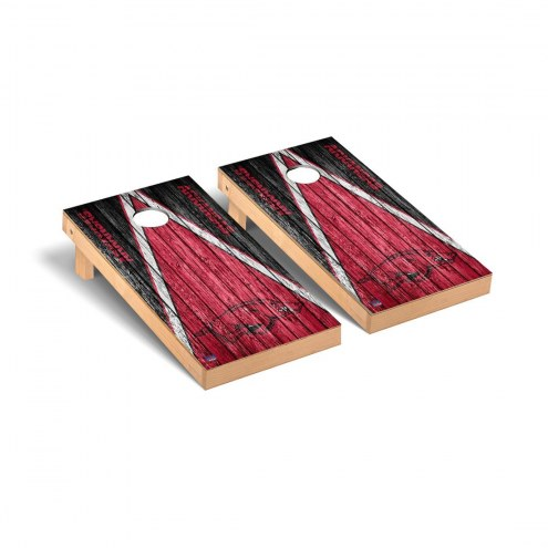 Arkansas Razorbacks Triangle Weathered Cornhole Game Set