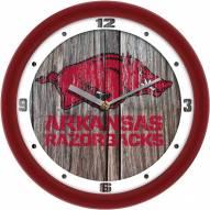 Arkansas Razorbacks Weathered Wood Wall Clock